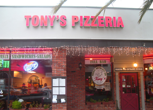 I chose Tony's Pizzeria to leave one dollar tonight. It was a foggy evening.