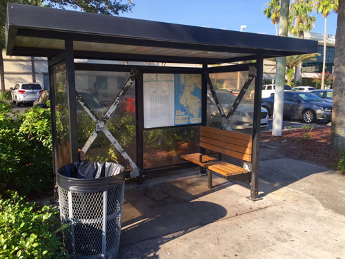 Bus stops are a great place to leave money on a walk.