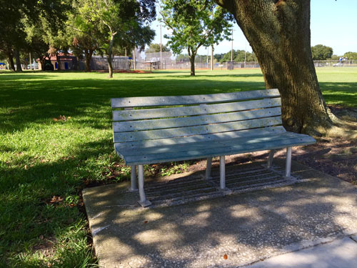 I always pass the park on my walks. These benches are a great place to eave money.